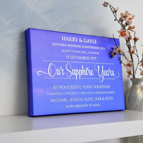 Personalised Sapphire Anniversary Blue Metallic Canvas